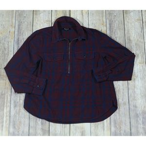 MadewellFlannel Zip-Front Popover Shirt Plaid